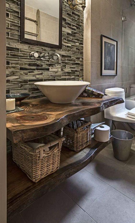Salle de bain  plan vasque en bois naturel  Salle De