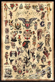 Sailor Jerry Tattoo Flash 3 cartel imprimir por MarkPaintAndPrints