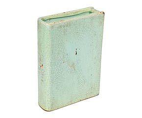 Vase LIVRE Céramique, Turquoise - H25