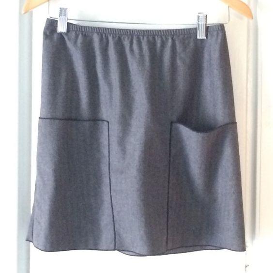 "Kara line gray wool skirt Versatile skirt in lightweight gray wool with black stitch trim around pockets and hem. Two patch pockets; elastic waist. 17"" length. Kara line Skirts"