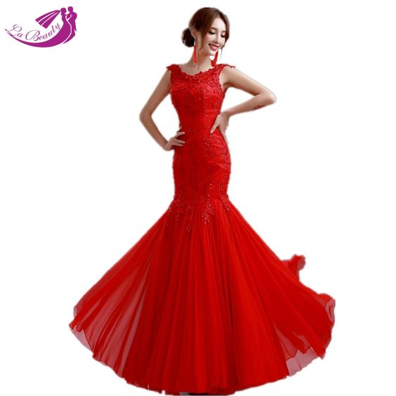 Elegant Evening Dress Women Red Lace Bandage Prom Party Dress ...