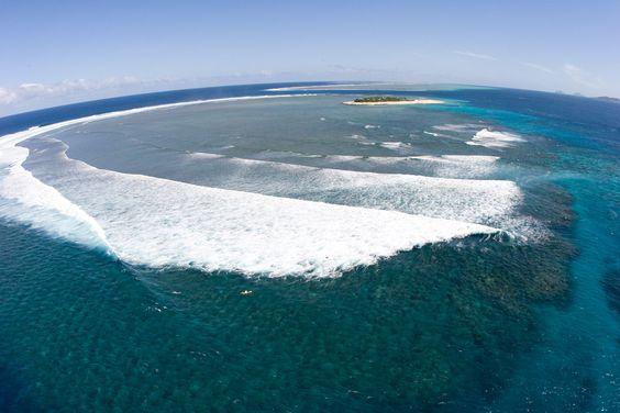 Aerial view of the reef at Namotu Island, Fiji