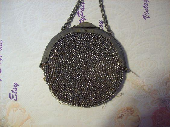 1904 Antique Coin Purse, Antique Art Nouveau Clip Coin Purse, Antique Seed Bead Purse, Antique Leather Coin Purse by vintagecitypast on Etsy