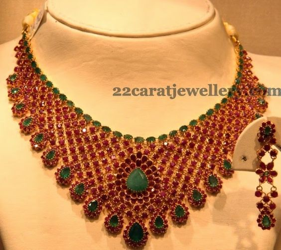 jewellery designs broad ruby necklace with emerald stones