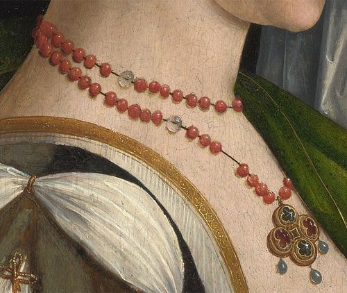 Coral beads and either clear glass or perhaps pearls? Direct link from Pinterest
