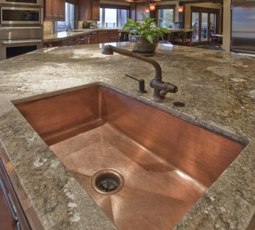 Granite counter copper sink hill country dream home - Kitchen sinks san diego ...