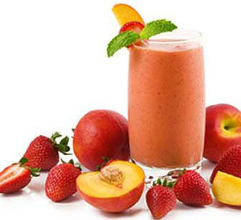 Strawberry Peach Soy Smoothie    1/2 cup soy or rice milk  12 strawberries  1/2 cup frozen peach slices  2 ice cubes  Combine soy milk, strawberries, peaches and ice cubes. Blend using the pulse option and first and then finish with a 1 minute blend on high and enjoy your non-dairy smoothie.