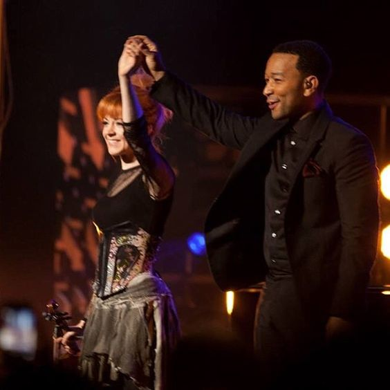 Lindsey Stirling. John Legend. http://photos-b.ak.instagram.com/hphotos-ak-prn/10401680_705075866226457_485883579_n.jpg: