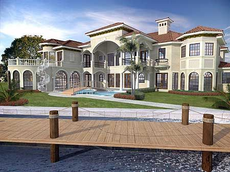 Rear view elevator and luxury house plans on pinterest for Mediterranean house numbers