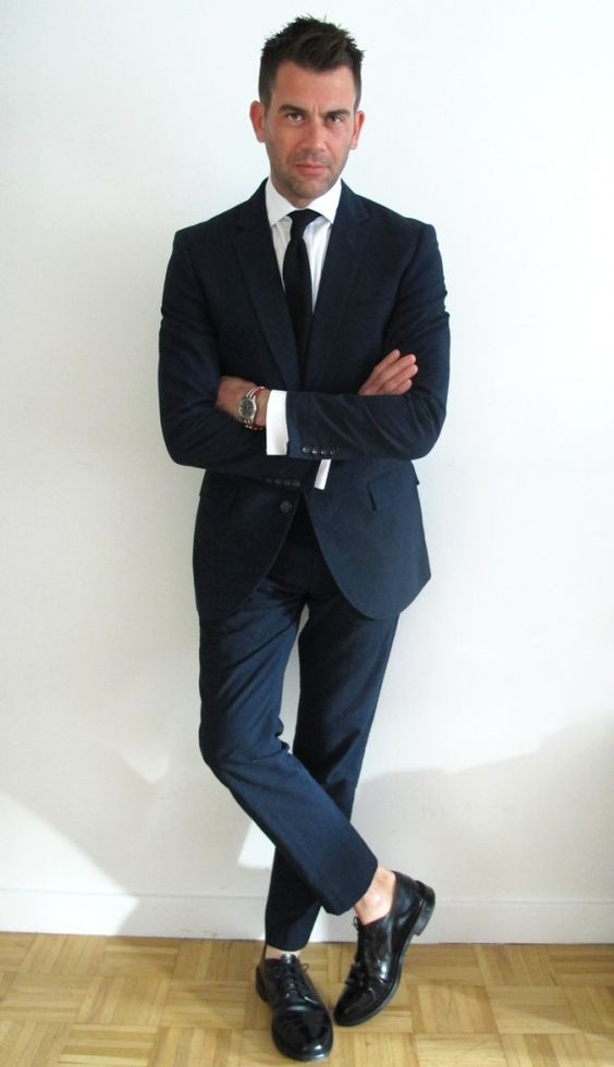 Summer Weight Navy Poplin Suit, and Classic Black Wingtips. Men's
