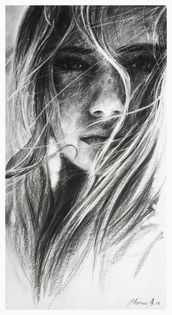 Charcoal Drawing Aelin [by AndriyMarkiv] -