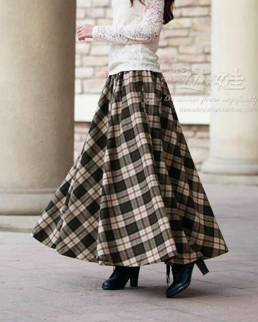 Vintage Wool Plaid Long Skirt Saias Vestidos Vestido Com Saia