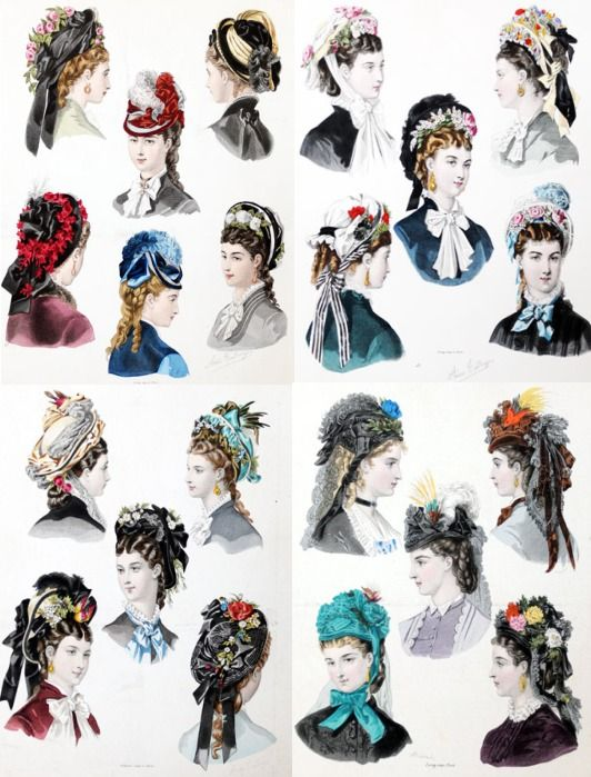 "Hairstyles illustration from ""La Mode Illustrée"", 1860.  Which of the women from The Quilted Heart quilting circle would've worn which hairstyle and bonnet?:"