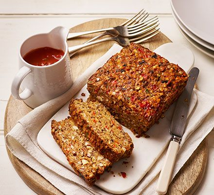 Nut roast. This satisfying vegetarian loaf with lentils, chestnut mushrooms and cheese, complements all the classic roast dinner trimmings.