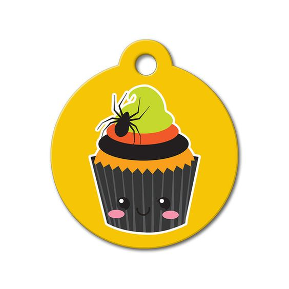 Halloween Cupcake - Halloween Pet Tag #holidays #dogtagsfordogs #pettags #dogaccessories #dogfashion #dogs #pets #etsy #etsyfinds #cupcake #halloween