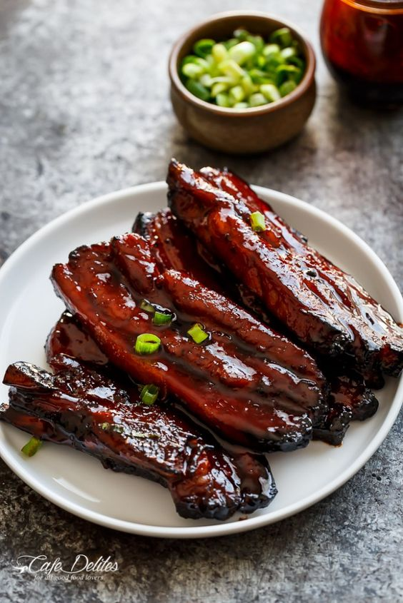 Sticky Chinese Barbecue Pork Belly Ribs (Char Siu) | http://cafedelites.com
