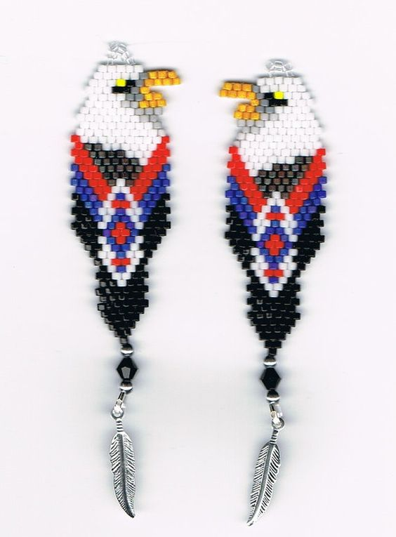 Beautiful Hand Beaded Bald Eagle in Feather dangling by beadfairy1, $12.95