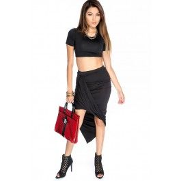 Sexy Bold Black Short Sleeve Ruched Asymmetrical Two Piece Body Con Dress