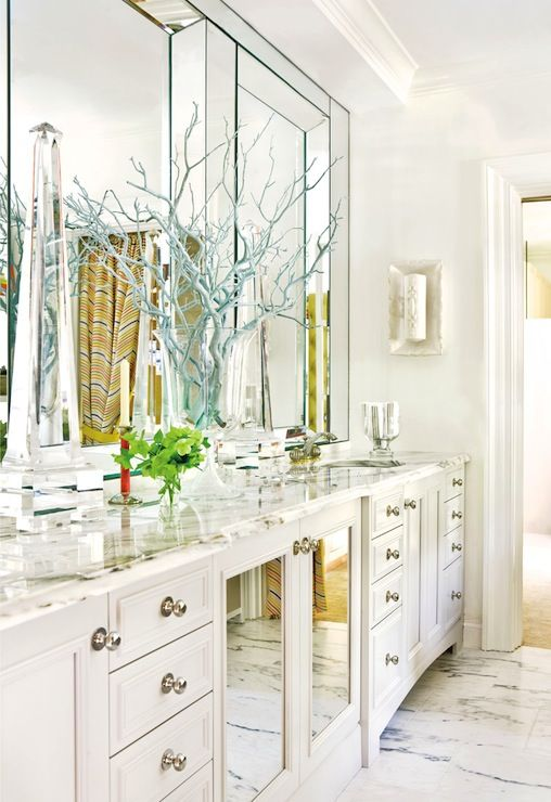 Suzie: Raymond Goins - Glam master bathroom with white mirrored double bathroom vanity, marble ...