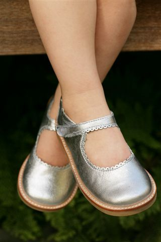 Elephantito Girls Silver Leather Velcro Shoes