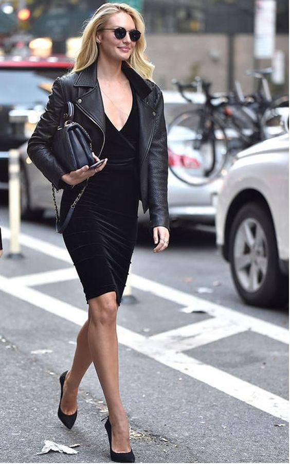 All black - vestido de veludo, jaqueta de couro, scarpin e bolsa clássica... produção sem erro!