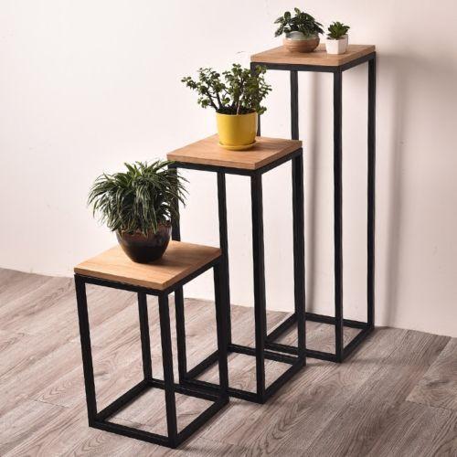 Industrial Metal Corner Table Storage Display Plant Stand 55cm
