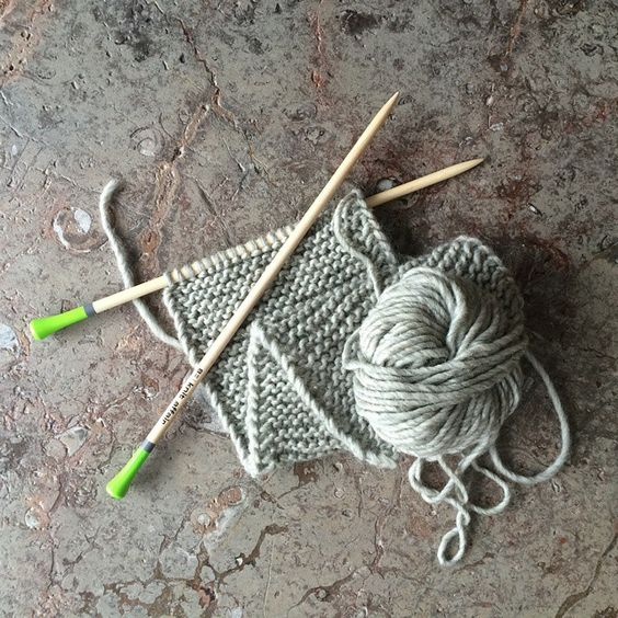 #knitaffair knitting needles lime green and grey.