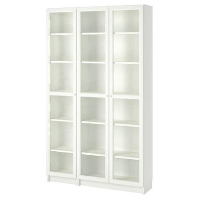Ikea Billy Dark Red Bookcase With Glass Doors Bedroom In