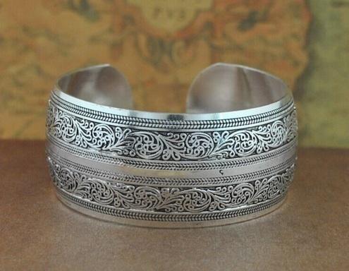 Bracelets - Gypsy Bohemian Tibetan Jewelry Vintage Silver Antique Ethnic Cuff Bracelet