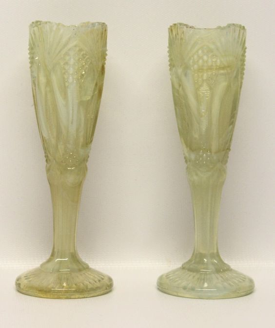 Lemon Yellow Slag Glass Opalescent Vases 1 Pair Vintage Collectible - pinned by pin4etsy.com