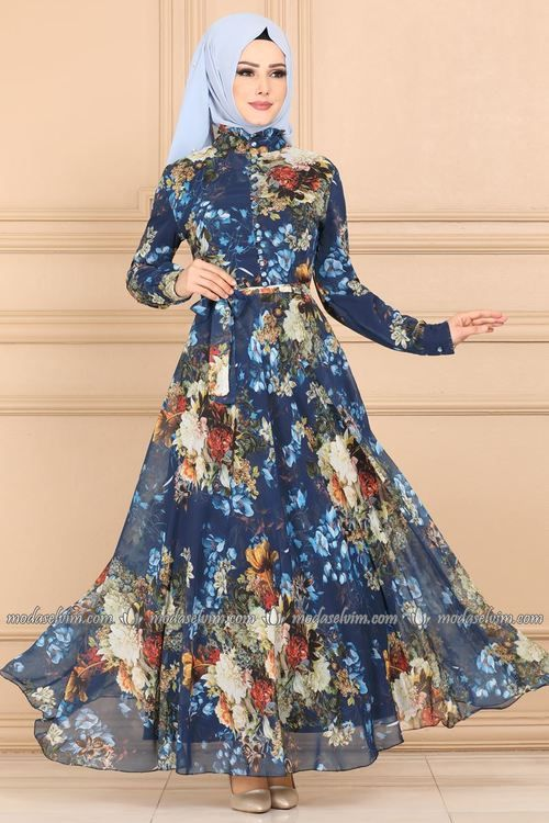 Modaselvim Elbise Desenli Sifon Elbise Ygs6211 Indigo Sifon Elbise Elbise Elbise Modelleri