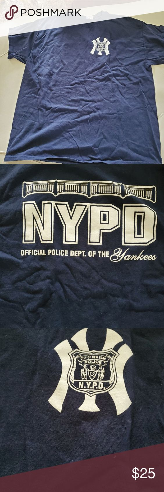 Nypd Ny Yankees Two Awesome Nyc Great Icons Xl Nypd Yankees Tee Shirt Men S Navy Xl Rare These 2 Nyc Institutions Come Together In One Ny Yankees Yankees Nypd