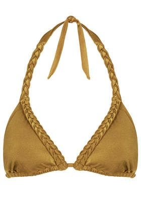 Gold Shiny Triangle Bikini Top