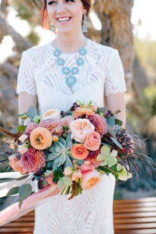 Colorful bridal bouquet | M. Felt Photography | see more on: http://burnettsboards.com/2015/11/mid-century-modern-southwestern-wedding/