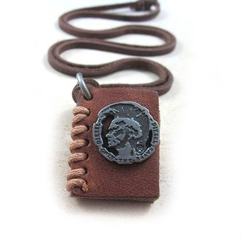 Top Value Jewelry - Genuine Leather Adjustable Necklace with Leather Book Pendant Top Value Jewelry. $21.99. Brown Leather Adjustable Necklace with Leather Book Pendant. Contemporary and versatile piece for Anyone. Cool Jewelry Piece!. Genuine Leather Necklace with Unique Pendant Design