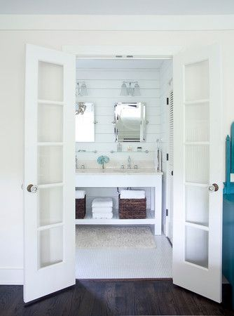 Just LOVE This Bathroom The White With The Dark Hardwood