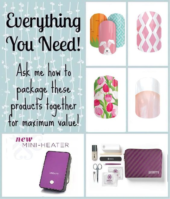 Check out how to bundle these great products from Jamberry for the Everything You Need Perfect Application. LOVE LOVE the new application kit and heater.. Any 4 wraps you choose... http://www.jberrypark.jamberrynails.net/