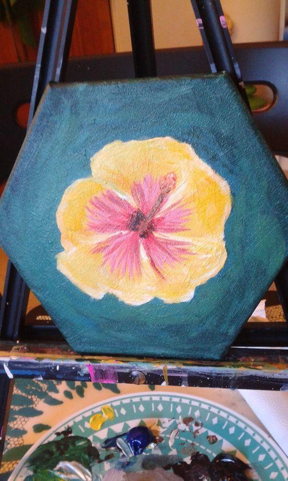 My first floral attempt. 9/11/16. Hibiscus, aka gumamala flower.