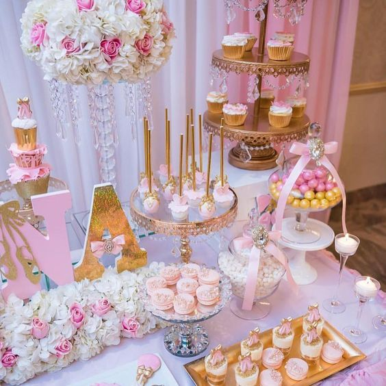 Baby Shower Table Decorations Ideas Pink Baby Shower Baby Girl Shower Themes Baby Shower Desserts