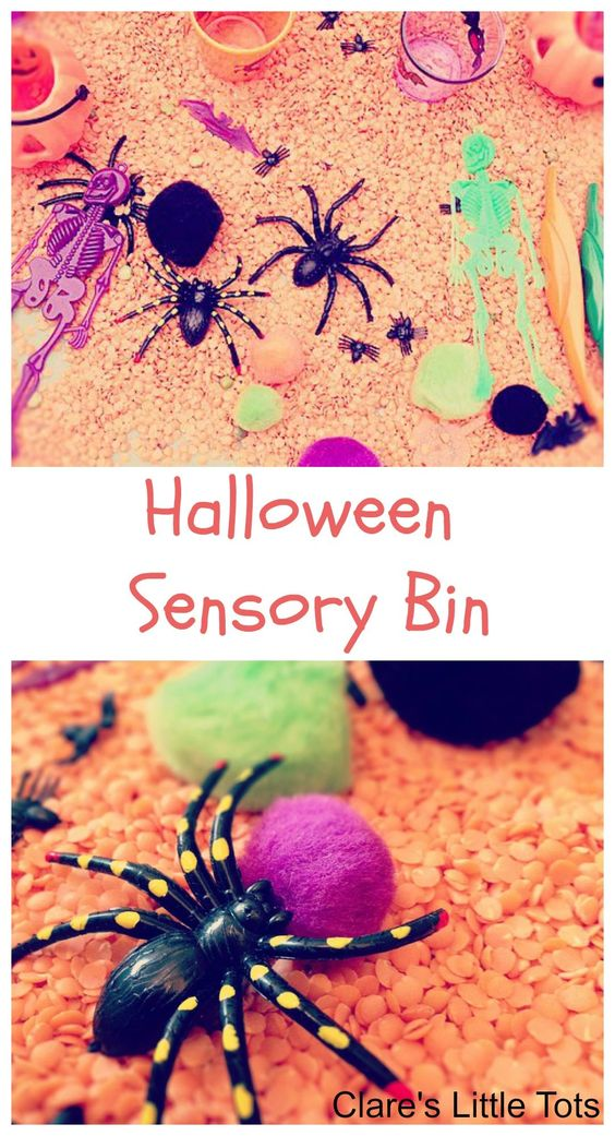 Halloween Sensory Bin fun sensory play for toddlers and preschoolers with this easy to make sensory tray.