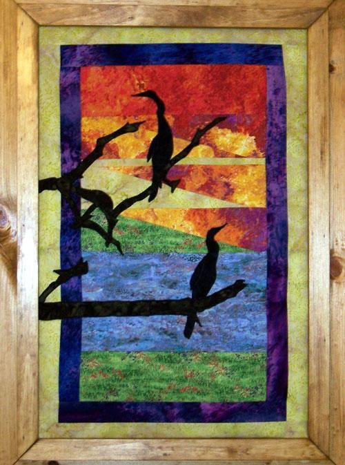 Sunset Silhouettes Frame or Quilt Fabric Wall Art E