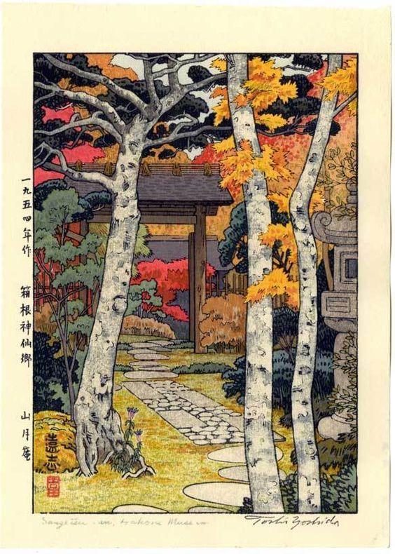 Toshi Yoshida Japanese Woodblock Print Autumn in Hakone   eBay