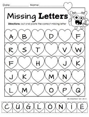 Printables Free Printable Preschool Cut And Paste Worksheets february printable packet kindergarten literacy and math 7 best images of valentines free cutting worksheets preschool valentine c