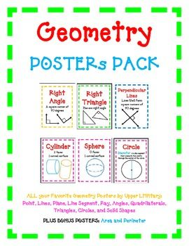 This item is sold individually or in a bundle.  Please see all products in our store Upper LMNtary.Geometry POSTERs PACKALL your Favorite Geometry Posters by Upper LMNtary: Point, Lines, Plane, Line Segment, Ray, Angles, Quadrilaterals, Triangles, Circles, and Solid ShapesPLUS BONUS POSTERS: Area and Perimeter35 Posters in ALL!Geometry is very visual so these posters are a perfect visual reminder for students of geometric terms such as Point, Line, Ray, Line Segment, Parallel, Perpendicular…