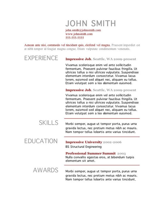 7 Free Resume Templates | Words, Cosmetology And Interview
