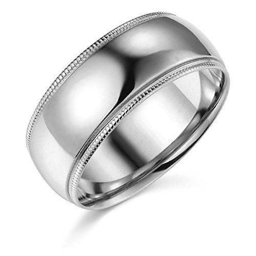 14k White Gold 8mm Plain Milgrain Wedding Band Size 5 Milgrain Wedding Bands Wedding Ring Bands Topaz Engagement Ring