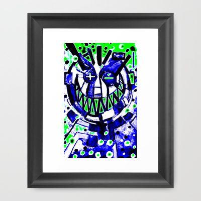 neon smiley face v2 Framed Art Print by seb mcnulty - $32.00
