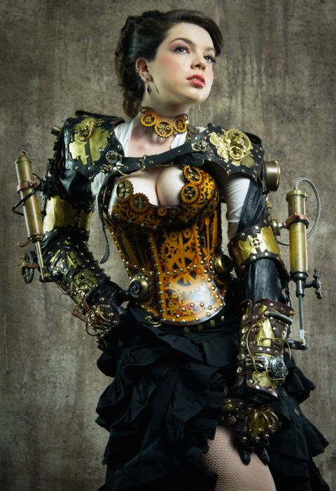 Corset by Brute Force leather , Model : Lady Clankington http://littledeathray.com/
