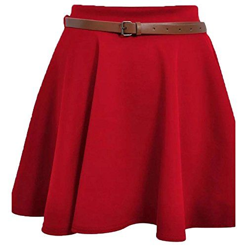 Ladies Girls Skirts Women/'s Belted Flared Plain Mini Skater Skirt Plus size 8-22