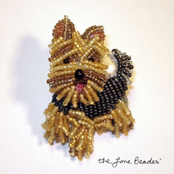 YORKIE Yorkshire Terrier dog beaded art pin/ pendant (Made to Order)